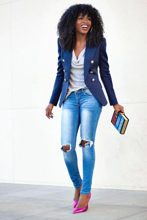 7 Cách phối đồ cho nữ da ngăm đen phối xanh blue