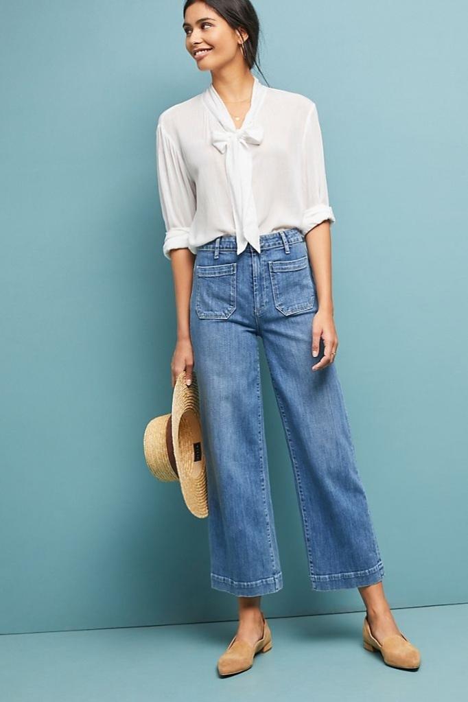 Mix đồ mùa hè cá tính với quần Jeans ống rộng