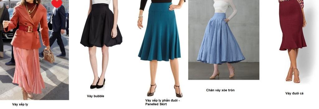 Cách phối đồ cho dáng người hình chữ nhật - Các loại chân váy hợp