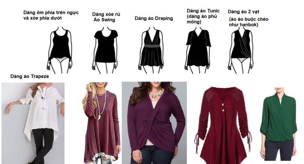 Cách phối đồ cho dáng người quả táo - phối đồ theo dáng, áo và áo sơ mi