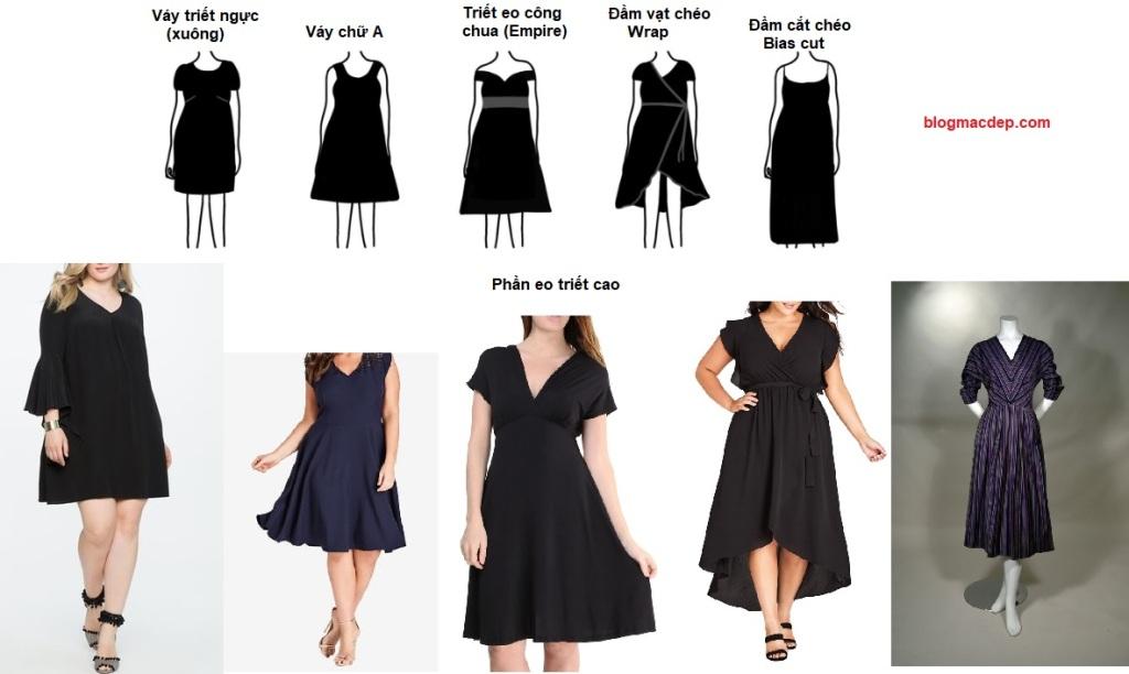 Cách phối đồ cho dáng quả táo - Phối đồ theo dáng cách mặc đầm (váy)