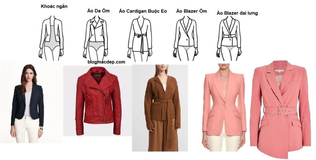 Áo khoác ngắn hợp với dáng người đồng hồ cát