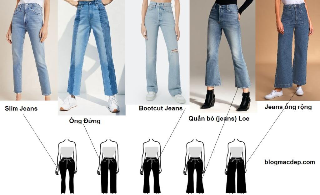 Phối đồ theo dáng người - cách phối đồ cho dáng đồng hồ cát - quần bò (jeans)