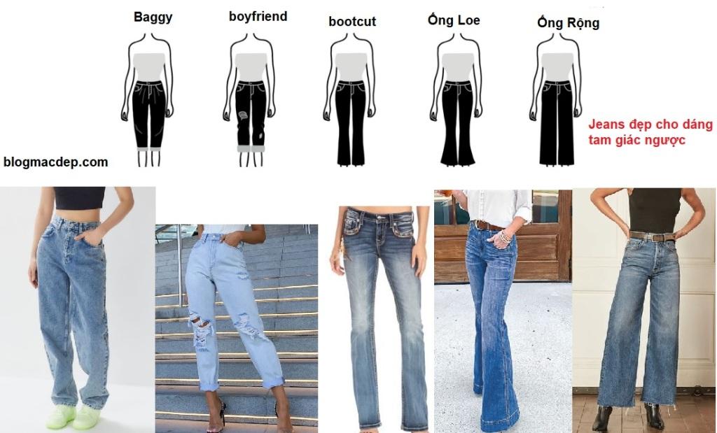 Phối đồ theo dáng người - dáng tam giác ngược - quần jeans